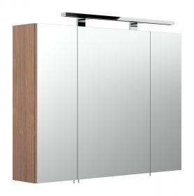 Badezimmer: Spiegelschrank Rima Walnuss-weiß (80x62 cm) inkl. Beleuchtung