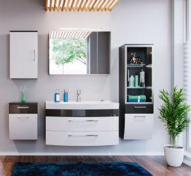Badmöbel Set Rima weiß-Anthrazit Hochglanz, 5-teilig (190x135 cm) inkl. Waschbecken und Beleuchtung