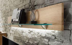 Wandboard mit Glasablage Naturell N1 in Eiche Bianco massiv, geölt und gewachst Länge 159 cm