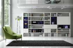 Wohnwand Bücherwand MDor Dekor Lack weiß matt schwarz LED-Beleuchtung Breite 430 cm