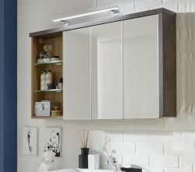Spiegelschrank Bay 3-türig 3D Eiche Riviera Honig und grau Beton Design 120 cm Spiegellampe