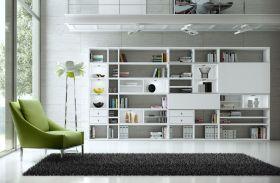 Wohnwand Bücherwand MDor Dekor Lack weiß Hochglanz LED-Beleuchtung Breite 430 cm