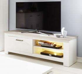 TV-Unterteil Lowboard Lotte Pinie Struktur weiß und Nelson Eiche Dekor