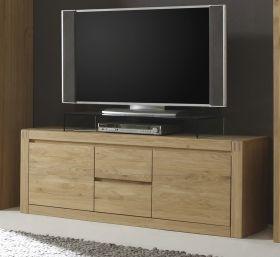 Lowboard Eiche Bianco massiv, geölt und gewachst 147 cm Fernsehtisch Ponto