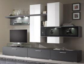 Schöne GE1618-01 Wohnwand Innovation Hochglanz weiß und graphit matt