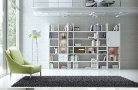 Wohnwand Bücherwand Dekor Lack weiß Hochglanz Eiche Natur LED-Beleuchtung Breite 343 cm