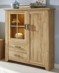 Vitrine Highboard in Eiche / Alteiche Dekor 113x144 cm Vitrinenschrank Canyon