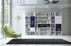 Wohnwand Bücherwand MDor Dekor Lack weiß Hochglanz schwarz LED-Beleuchtung Breite 343 cm