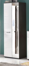 Garderobenschrank Schuhschrank weiß Hochglanz und grau Dekor 61x190 cm Garderobe Smart