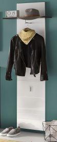 Flurgarderobe Garderobenpaneel Smart Hochglanz weiß und grau Dekor 60 x 186 cm