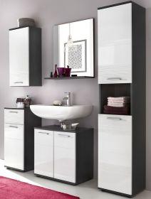 Badmöbel komplett Set in Hochglanz weiß und grau 5-teilig 163 x 190 cm Badezimmer Smart