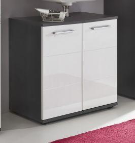 Waschbeckenunterschrank in Hochglanz weiß und grau 60 x 60 cm Badmöbel Smart