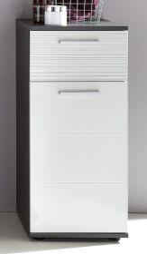 Bad Kommode Unterschrank Hochglanz weiß und grau 63 x 83 cm Badmöbel Smart