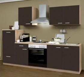 Küchenblock Einbauküche Classic inkl. E-Geräte 270 cm breit in Lava grau Dekor