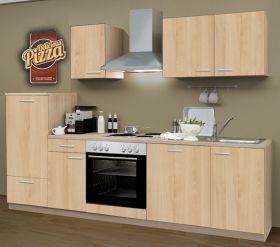 Küchenblock Einbauküche Classic inkl. E-Geräte + Geschirrspühler 270 cm breit in Eiche Sonoma Dekor