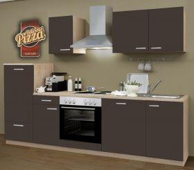 Küchenblock Einbauküche Classic inkl. E-Geräte + Geschirrspüler 270 cm breit in Lava grau Dekor