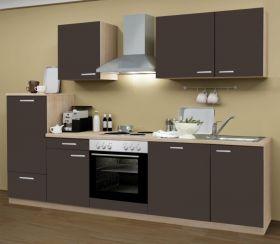 Küchenblock Einbauküche Classic inkl. E-Geräte + Geschirrspüler 280 cm breit in Lava grau Dekor