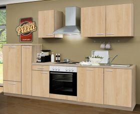 Küchenblock Einbauküche Classic inkl. E-Geräte + Geschirrspüler 300 cm breit in Eiche Sonoma Dekor