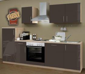 Küchenblock Einbauküche Premium inkl. E-Geräte + Geschirrspüler 270 cm breit in Lava grau Hochglanz