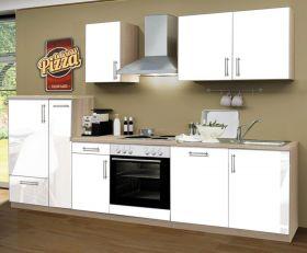 Küchenblock Einbauküche Premium inkl. E-Geräte + Geschirrspüler 300 cm breit in Hochglanz weiß