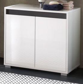Bad Waschbeckenunterschrank SOL echt Lack Hochglanz weiß und grau 67x60 cm