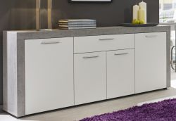 Sideboard Kommode Creek weiß und Industrie Beton Stone Design 173 cm