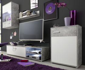 Wohnwand Hit weiß und Beton grau Design Schrankwand 226 cm