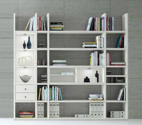 Wohnwand Bücherwand MDor Dekor Lack weiß matt LED-Beleuchtung Breite 238 cm