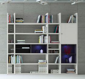 Wohnwand Bücherwand MDor Dekor Lack weiß matt schwarz LED-Beleuchtung Breite 252 cm