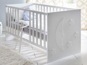 Babyzimmer Babybett Stars matt weiß inkl. Matratzenrahmen, Schlupfsprossen und Applikationen