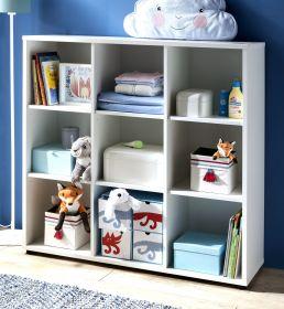 Babyzimmer offenes Regal Stars in weiß mit 9 offenen Fächer