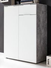 Kommode in weiß und Stone Beton grau Design 85x113 cm Highboard Viva