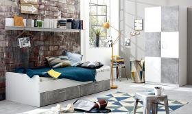 Jugendzimmer Set Canaria 3-teilig in weiß und grau Beton Design inkl. Bettschubkästen