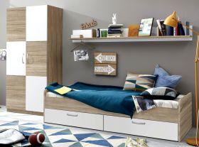 Jugendzimmer Set Canaria 3-teilig in weiß und Sonoma Eiche hell inkl. Bettschubkästen