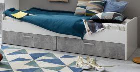 Jugendbett Canaria in weiß und grau Beton Design Funktionsbett mit Bettschubkästen 90 x 200 cm