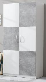 Kleiderschrank Canaria in weiß und grau Beton Stone Design 90 x 193 cm
