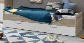 Jugendbett Canaria in weiß und Sonoma Eiche hell Funktionsbett mit Bettschubkästen 90 x 200 cm
