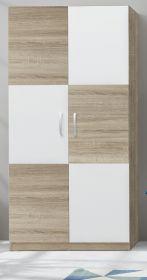 Kleiderschrank Canaria in weiß und Sonoma Eiche hell 193x90x53 cm