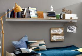 Wandregal Canaria in weiß und grau Beton Design Wandboard Bücherregal 200 cm