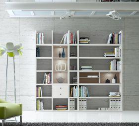 Wohnwand Bücherwand MDor Dekor Lack weiß matt Eiche Natur LED-Beleuchtung Breite 238 cm