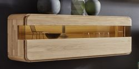 Hängesvitrine Vitrinenschrank Round in Eiche Bianco massiv geölt und gewachst 121 x 50 cm