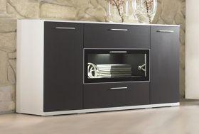 Sideboard Innovation in Hochglanz weiß und graphit matt 180 cm
