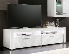 TV-Unterteil Lowboard Point mit Rillenoptik in Hochglanz weiß 183 x 50 cm