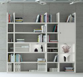 Wohnwand Bücherwand MDor Dekor Lack weiß matt LED-Beleuchtung Breite 252 cm