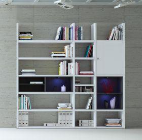 Wohnwand Bücherwand MDor Dekor Lack weiß Hochglanz schwarz LED-Beleuchtung Breite 227 cm