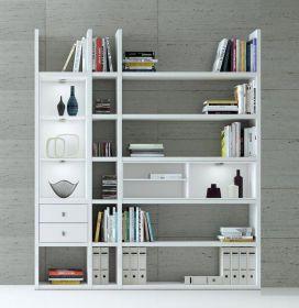 Wohnwand Bücherwand Dekor Lack weiß Hochglanz LED-Beleuchtung Breite 193 cm