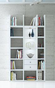 Wohnwand Bücherwand Dekor Lack weiß Hochglanz LED-Beleuchtung Breite 120 cm