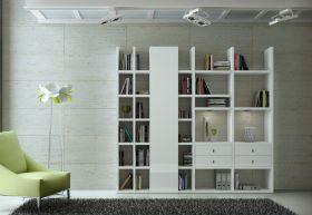 Wohnwand Bücherwand MDor Dekor Lack weiß Hochglanz LED-Beleuchtung Breite 237 cm