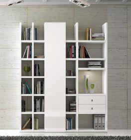 Wohnwand Bücherwand Dekor Lack weiß Hochglanz LED-Beleuchtung Breite 178 cm