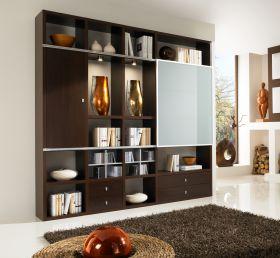 Wohnwand Bücherwand MDor Dekor Wenge mit Glas-Schiebetür Beleuchtung Breite 231cm